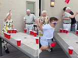 Elderly grandparents dominate their grandson and his friends in viral beer pong game