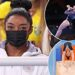 Simone Biles watches Sunisa Lee and Jade Carey compete in all-around final